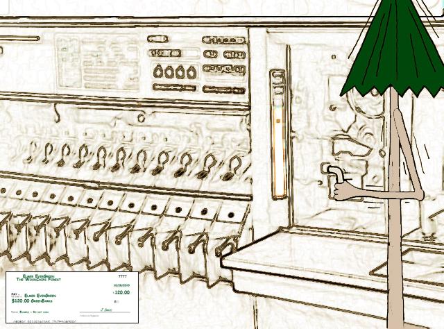 Elmer EverGreen sorting checks on an IBM 360 System 1419 MICR Check Sorter