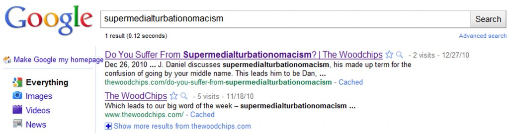 Google's search listing of our new word supermedialturbationomacism, a made up word meaning big confusion over your middle name