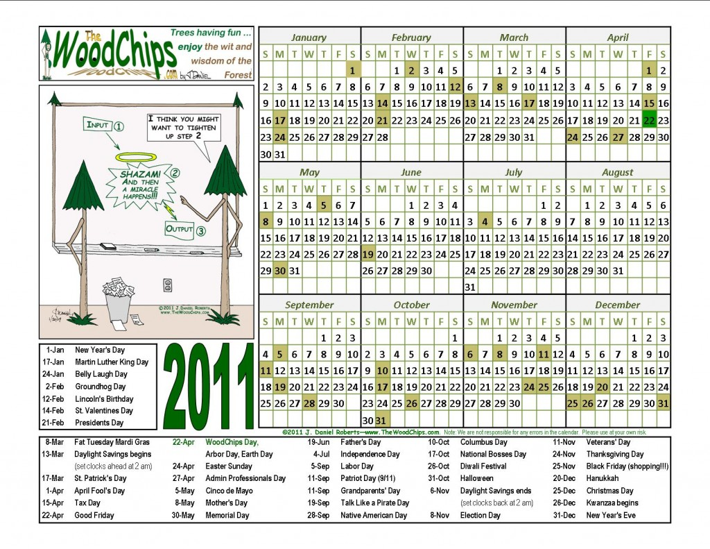 WoodChips 2011 Calendar - And Then A Miracle Happens