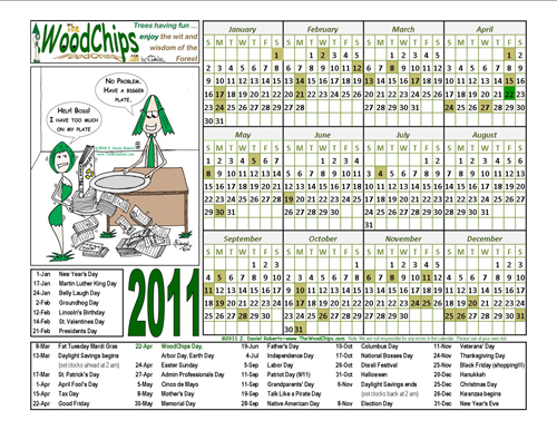 WoodChips 2011 Calendar - Tree Gal say she has too much on her plate and her boss says, here, have a bigger plate.