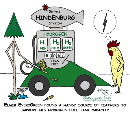 Elmer EveryGreen found a handy source of feathers to improve his hydrogen fuel tank capacity