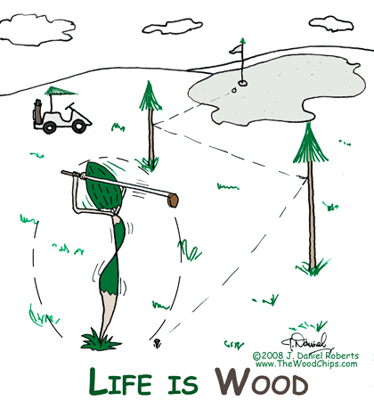 Golfer Gal WoodChip hits hole in one by bouncing off other trees ... life is wood.