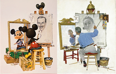 Norman Rockwell and Walt Disney / Mickey Mouse triple self protrait paintings side by side