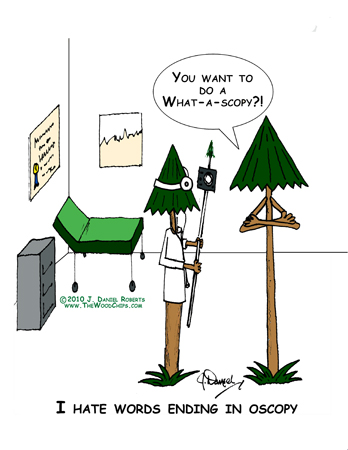"Elmer is indignant and asking Dr. TreeAge, ""You want to do a what-o-scopy?"""