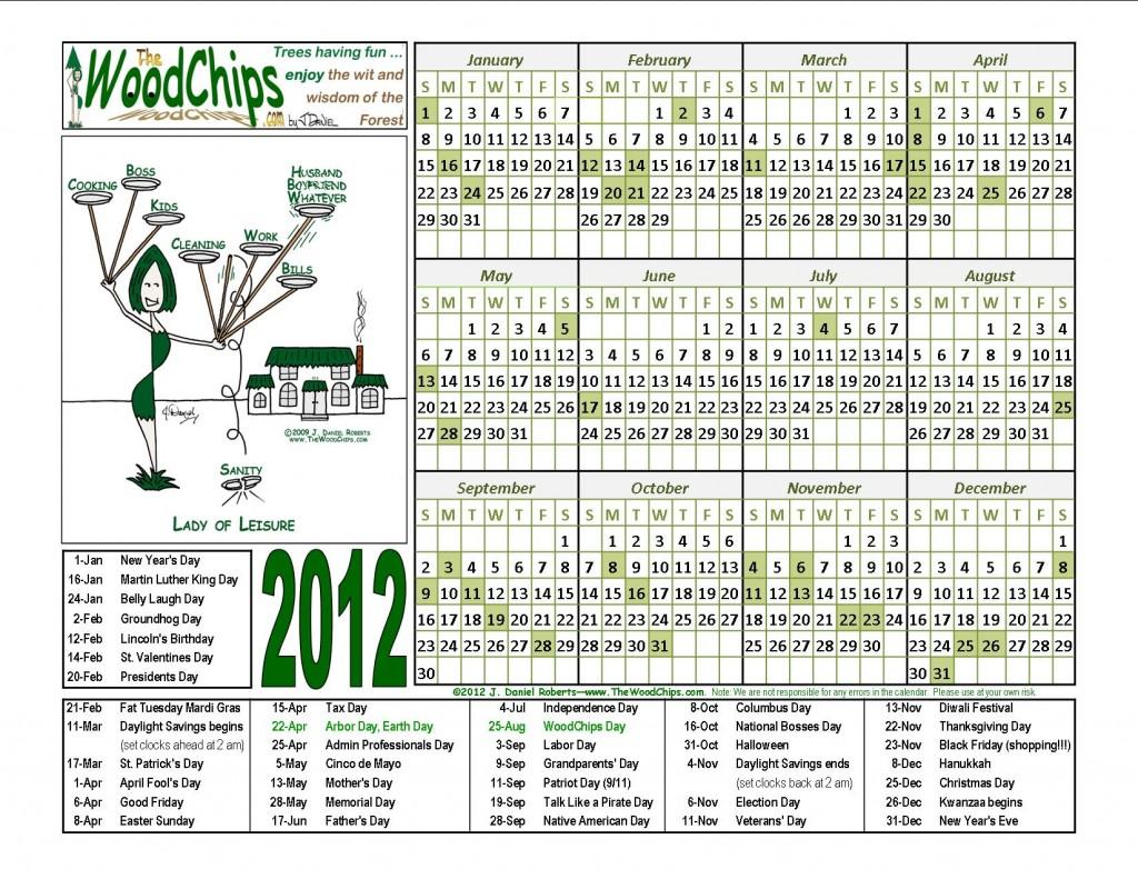 Free 2012 WoodChips Calendar