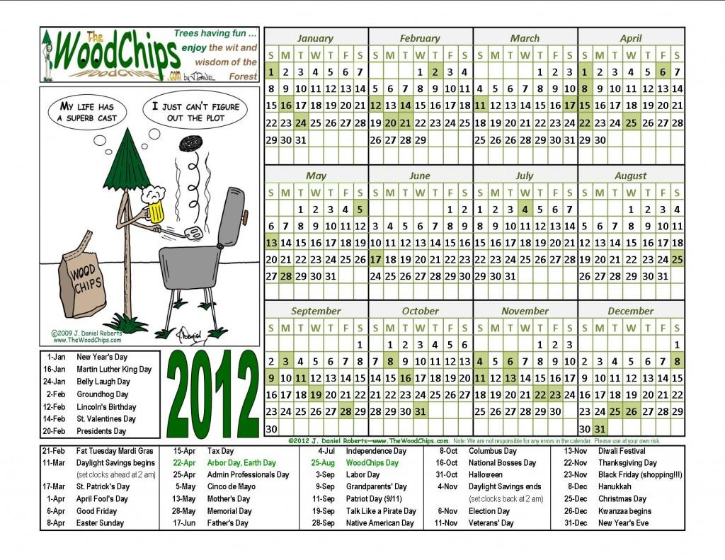 Free WoodChips 2012 Calendar