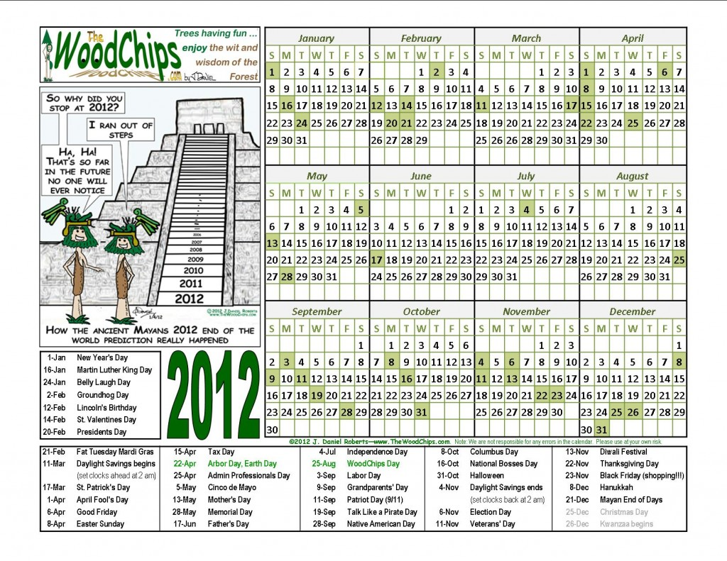 Free 2012 Calendar with Mayan End of Days end of the world