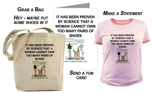 Cool products at the WoodChips Store - Grab a bag, send a fun card, make a T-Shirt statement
