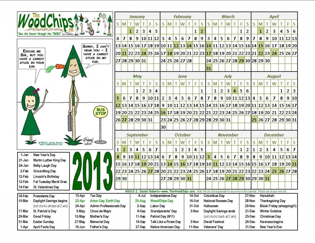 Free 2013 WoodChips calendars