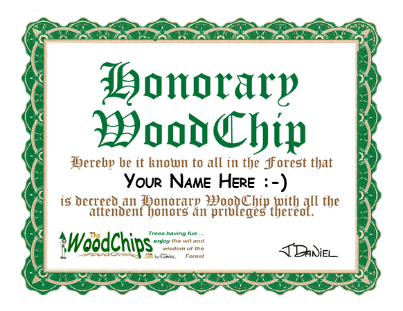 Honorary WoodChips Certificate