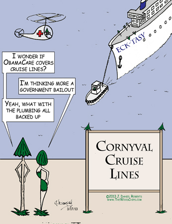 WoodChips TreeBoone and Maple wondering about the troubles on Cornyval Cruise Lines