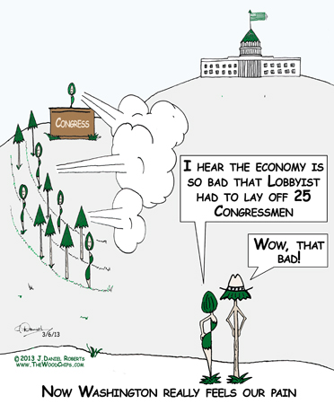 Maple and TreeBoone, two WoodChips, are in Washington D.C. commenting on how bad the economy is.