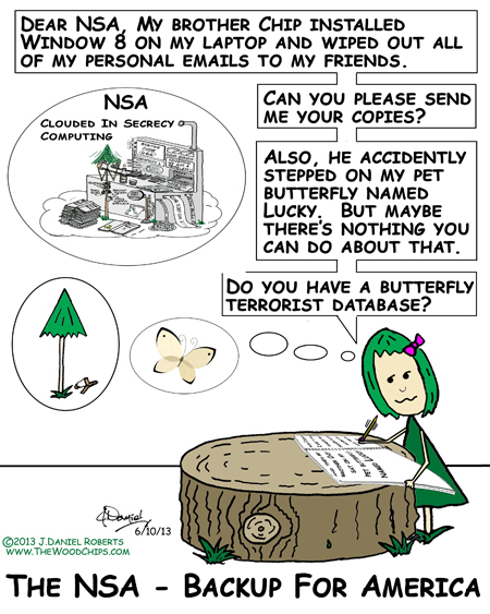 WoodChips character Cherry is writing to the NSA about her lost emails