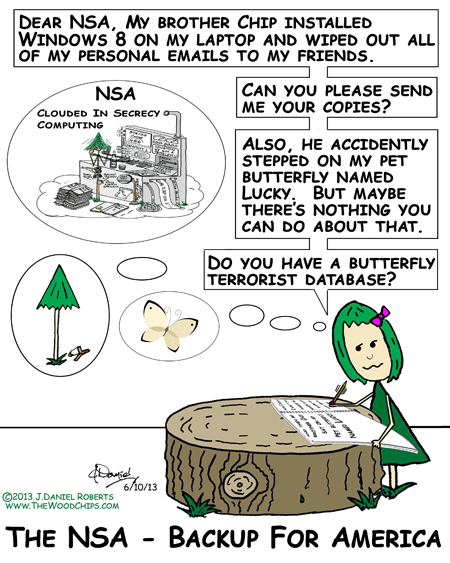 WoodChips character Cherry EveryGreen is writing to the NSA about her lost emails