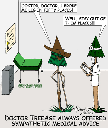 Captn Stumpy is telling Doctor TreeAge he broke his leg in fifty places... and the Doctor says...