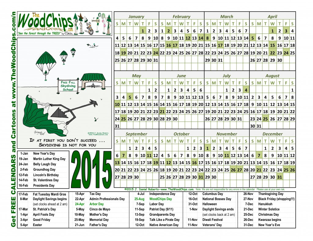 free 2015 woodchips calendar if at first you dont succeed