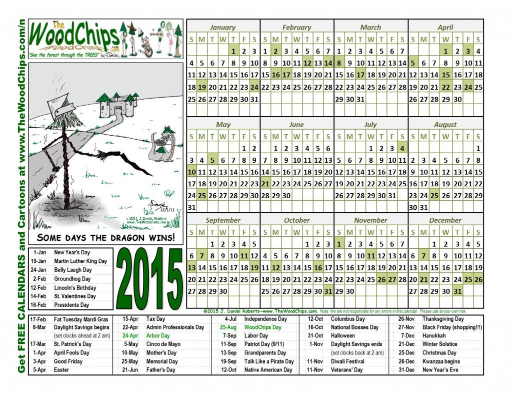 Free 2015 WoodChips Calendar - Dragon Wins