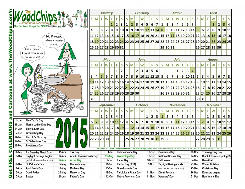 Free 2015 WoodChips Calendar - Have A Bigger Plate