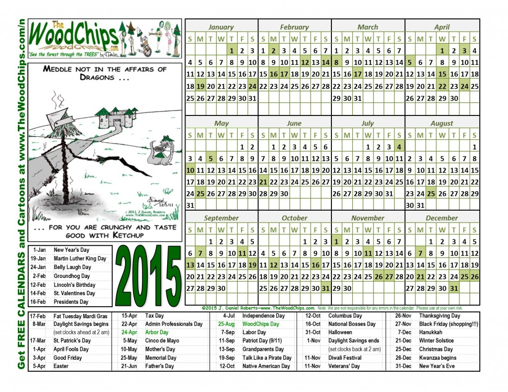 Free 2015 WoodChips Calendar - Meddle Not With Dragons