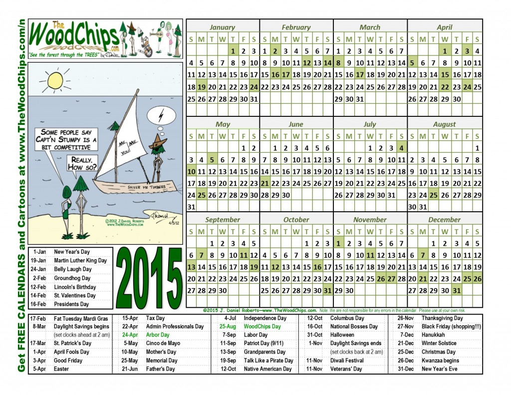 Free 2015 WoodChips Calendar - Over Competitive Captn Stumpy
