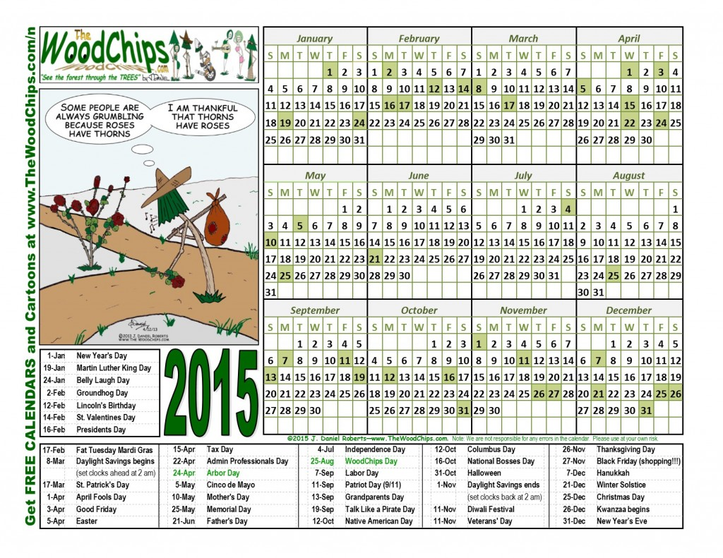 Free 2015 WoodChips Calendar - Roses And Thorns