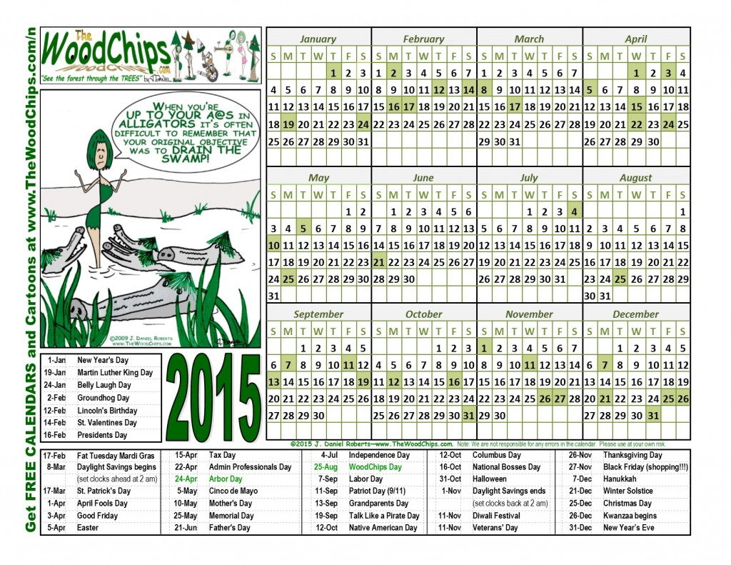 Free 2015 WoodChips Calendar - Up To Your Alligators
