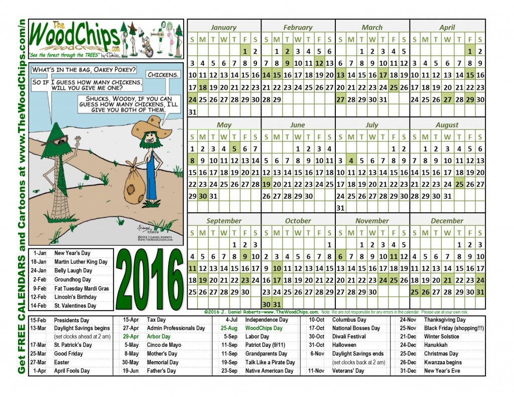 Free 2016 Calendar from TheWoodChips.com