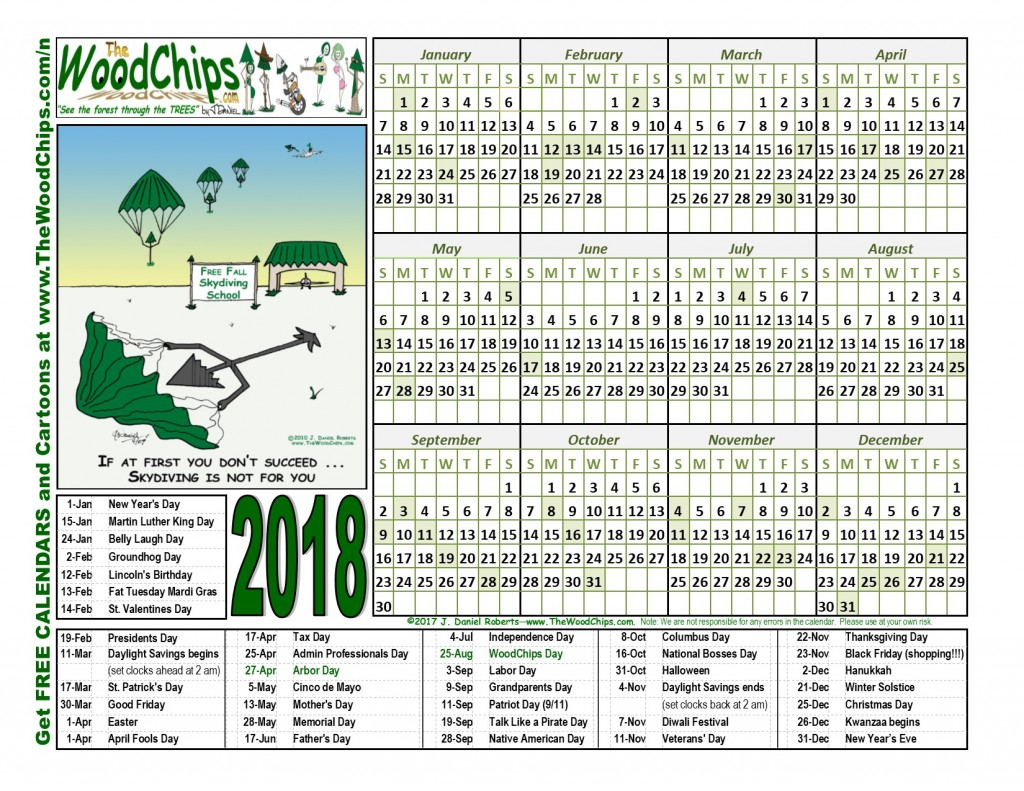 free calendars download 2018 the woodchips